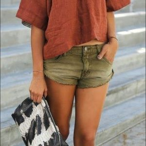 Free people olive jean shorts